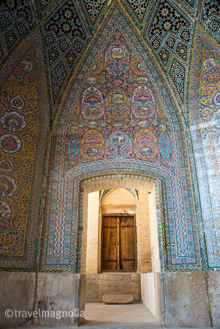 Exquisite mosaic work at the Pink Mosque in Shiraz