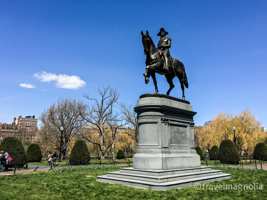 George Washington's Statue at the entrance to Boston's Public Garden