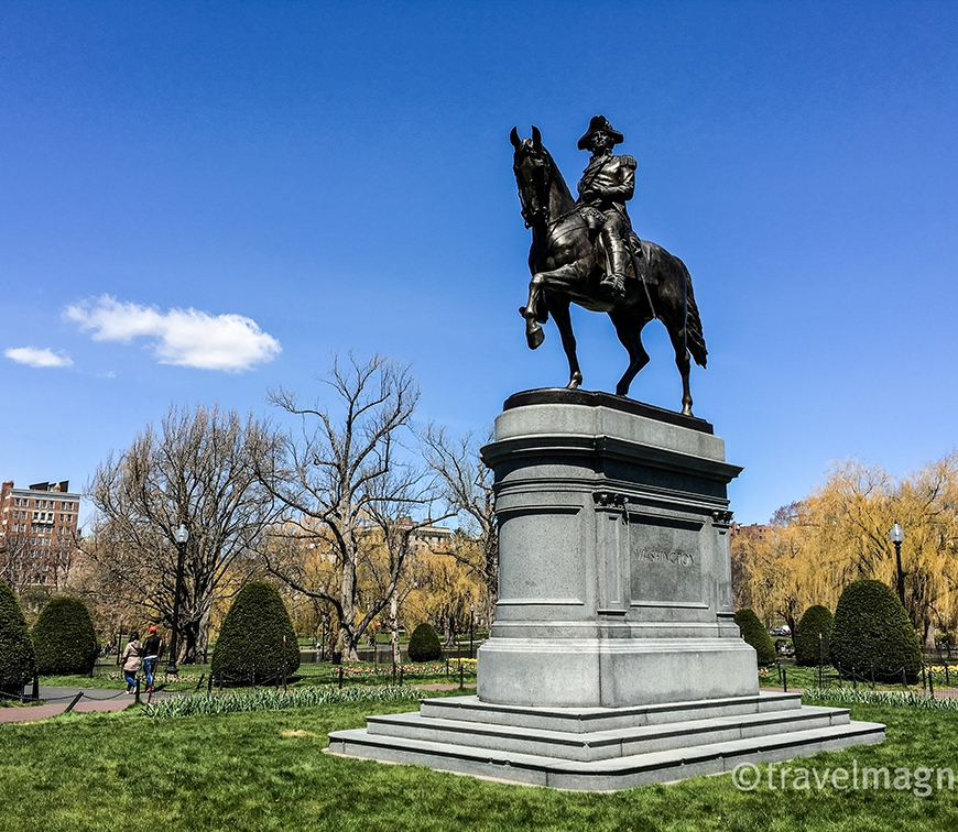 George Washington's Statue at the entrance to Boston's Public Garden