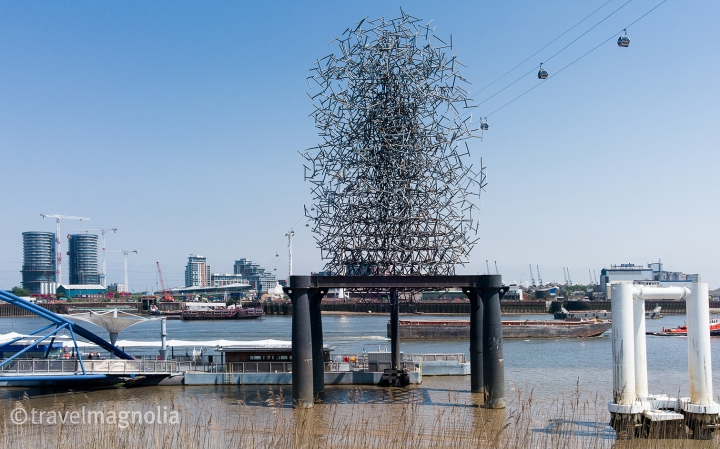 Antony Gormley's Quantum Cloud on the bank of the Thames in North Greenwich, United Kingdom ©travelmagnolia2016