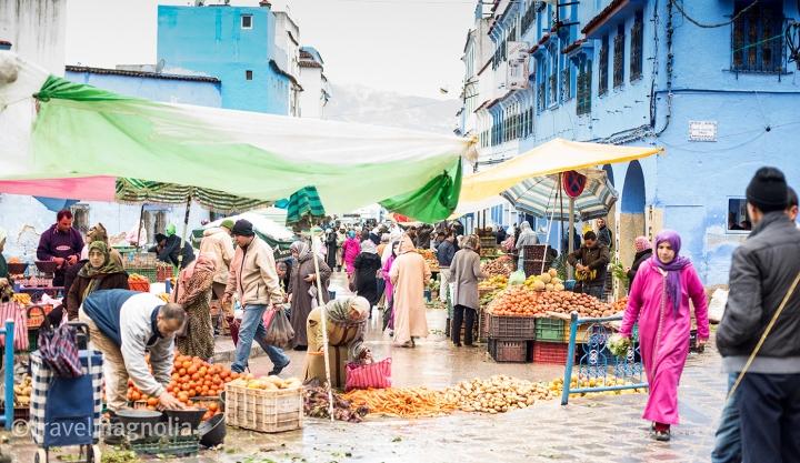 Open air market in Chefchaouen, Morocco ©travelmagnolia2016