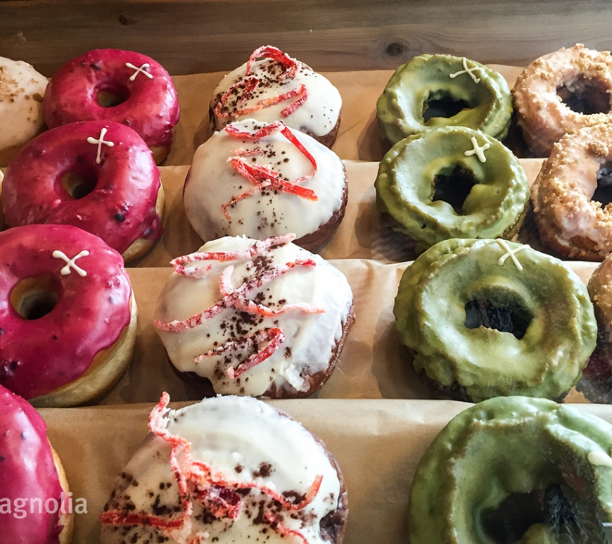 A mouthwatering selection at Crosstown Doughnuts in London UK. ©travelmagnolia2016
