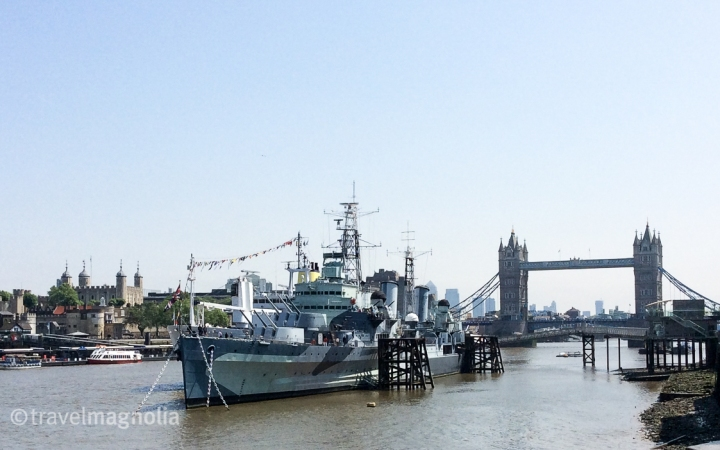 HMS Belfast with Tower of London and Tower Bridge
