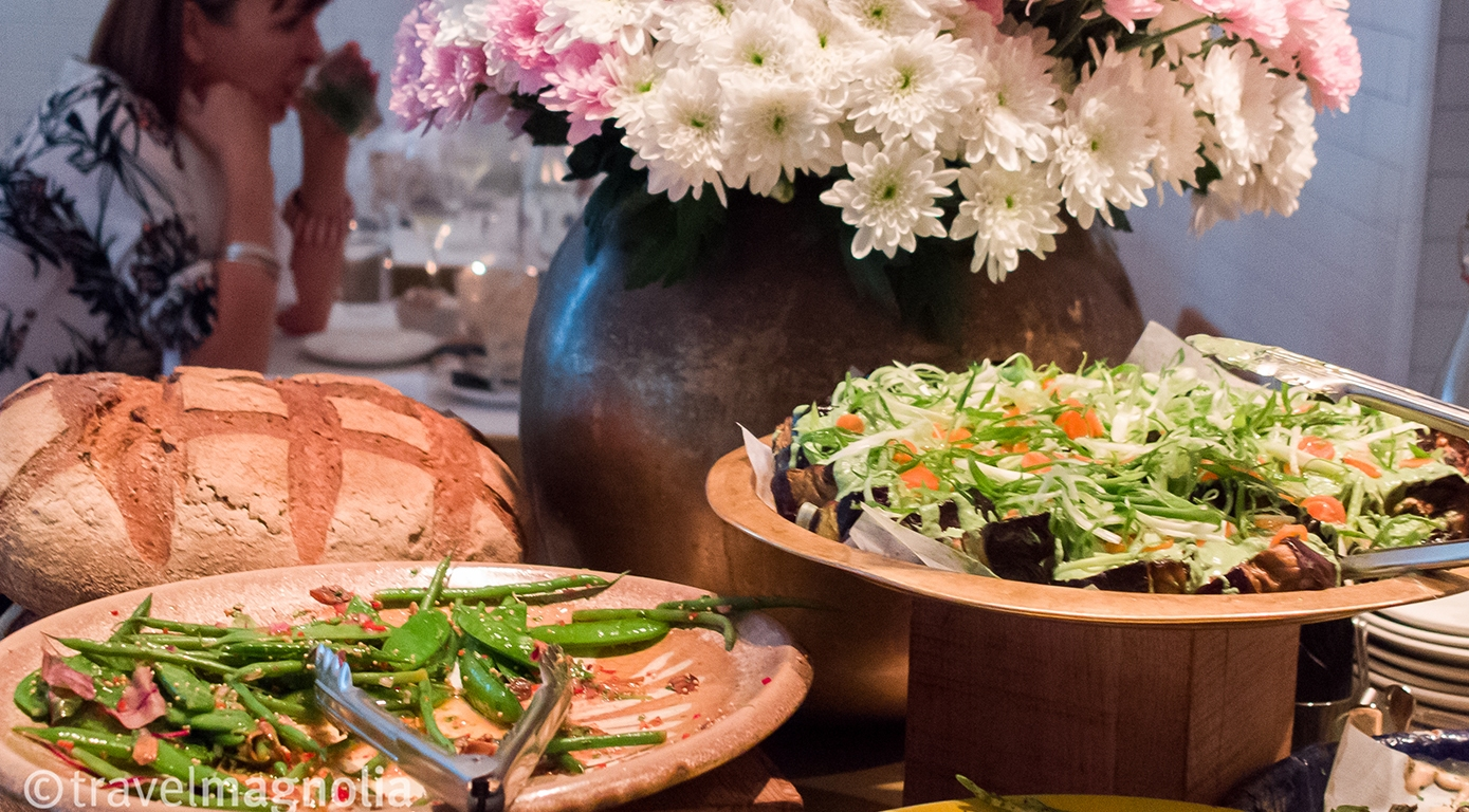 Salads on display at Nopi restaurant in London. ©travelmagnolia