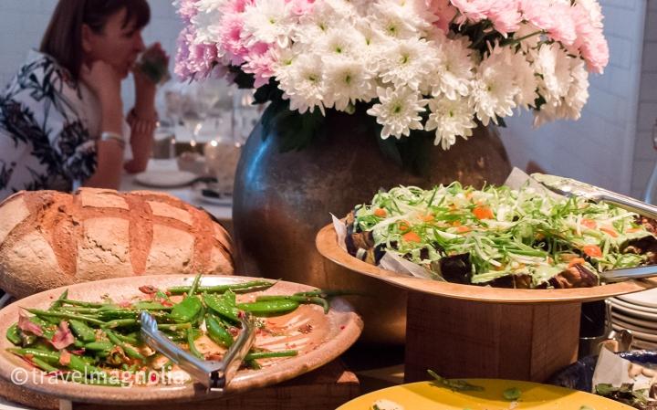 Salads on display at Nopi restaurant in London. ©travelmagnolia