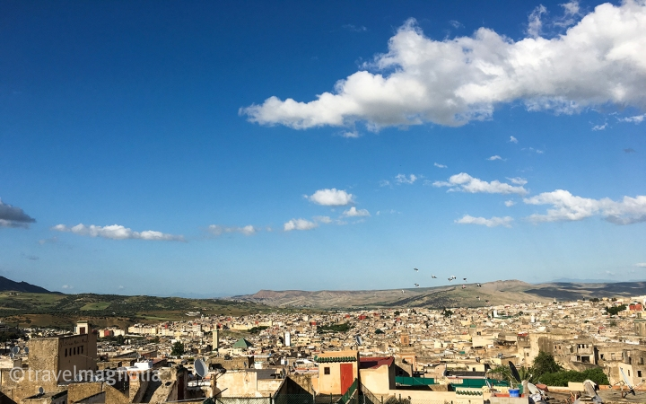 Panoramic view of Fez, Morocco from rooftop bar at Riad Fès. ©travelmagnolia2016