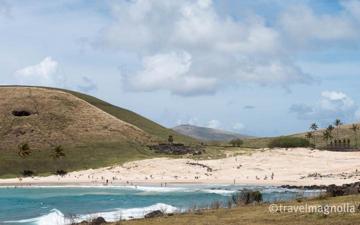 Anakena with Moai and Beach