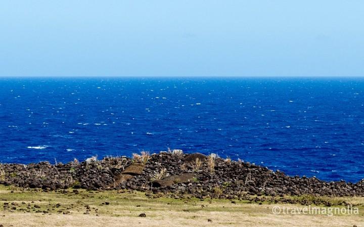 Fallen Moai and Ahu Te Peu