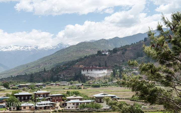 Paro Dzong with Mountains