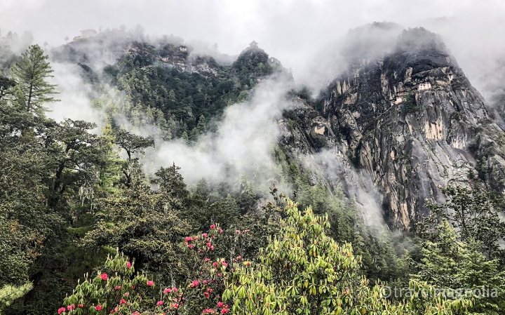 Tiger's Nest in the Mist from the Tea House