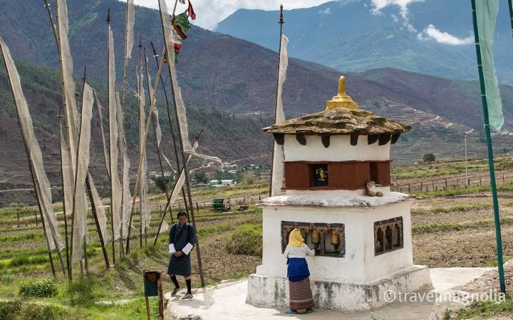 Punakha Stupa with Devotee + Tsewang